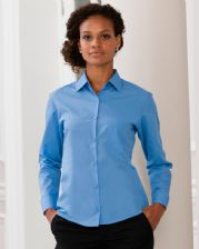 934F Russell Collection Ladies' Long Sleeve Polycotton Easy Care Poplin Shirt